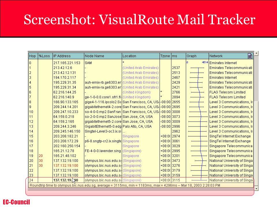 Screenshot: VisualRoute Mail Tracker