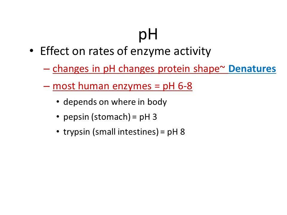 pH Effect on rates of enzyme activity