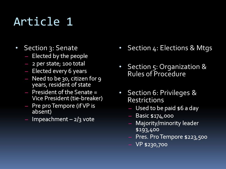 Article 1 Section 3: Senate Section 4: Elections & Mtgs