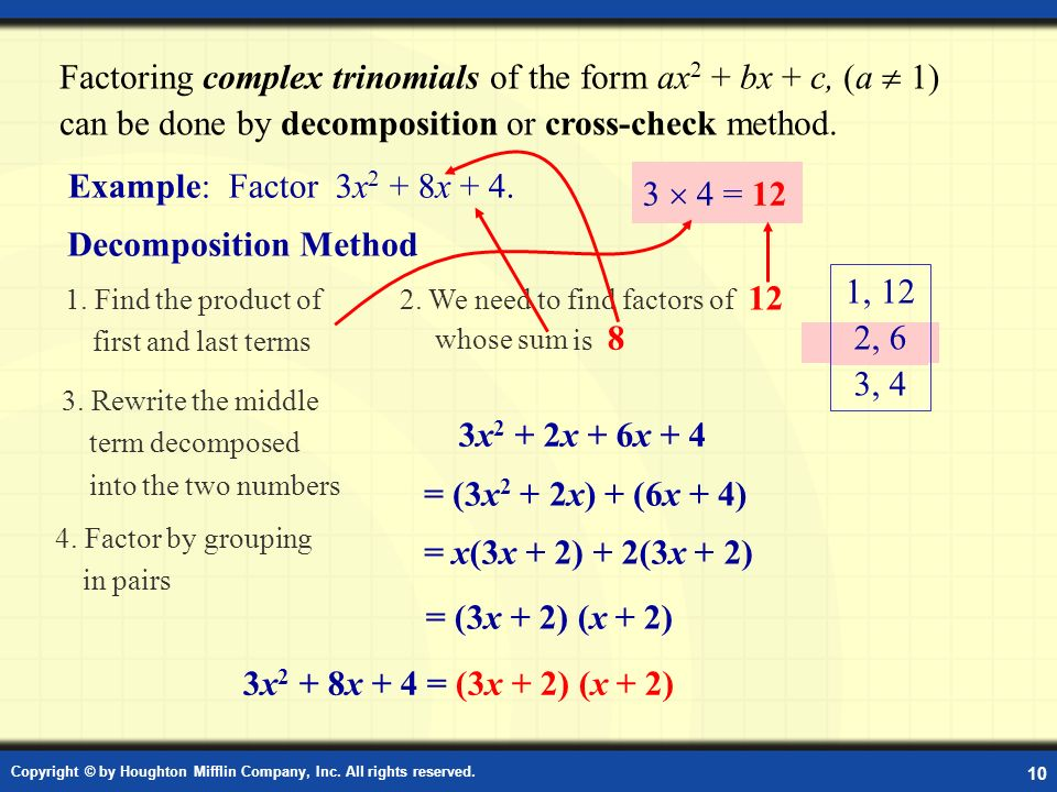 Factoring Polynomials of the Form ax2 + bx + c