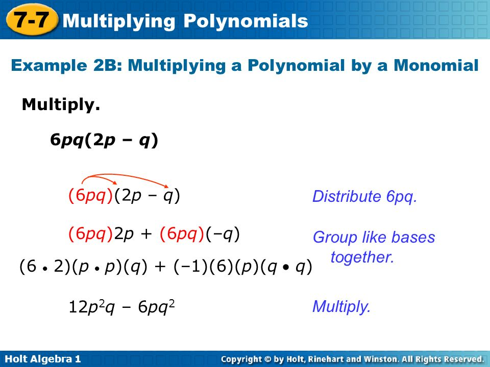 Example 2B: Multiplying a Polynomial by a Monomial