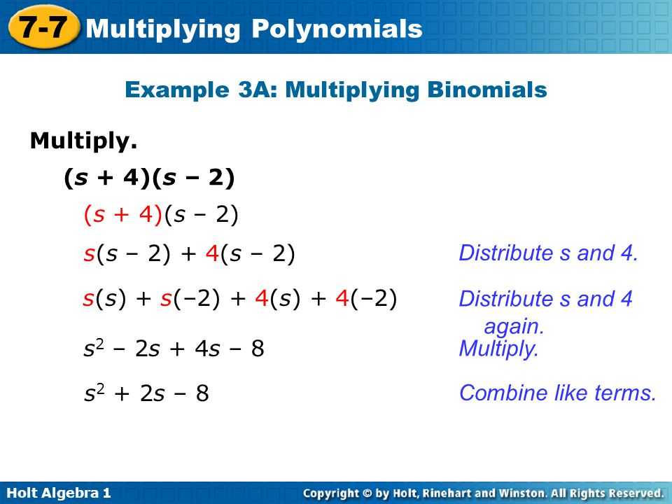 Example 3A: Multiplying Binomials