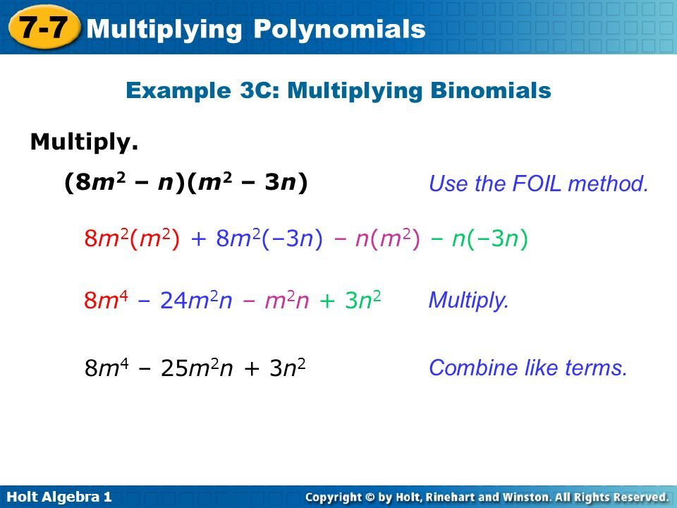 Example 3C: Multiplying Binomials