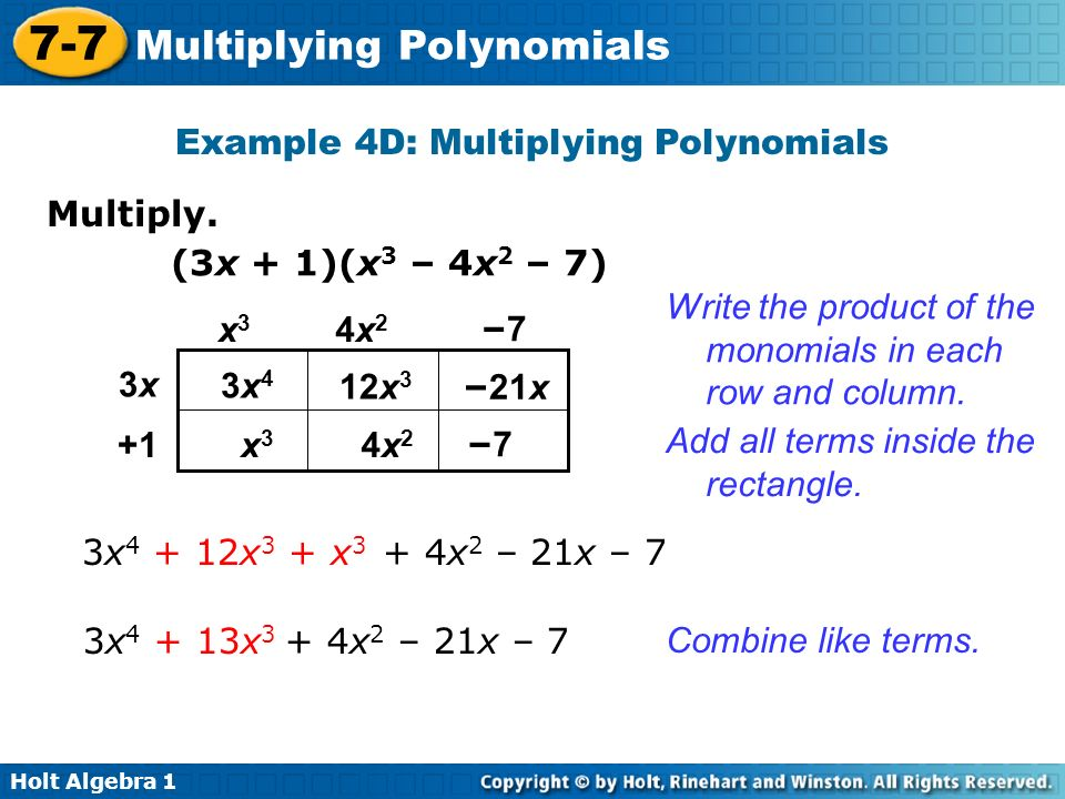 Example 4D: Multiplying Polynomials