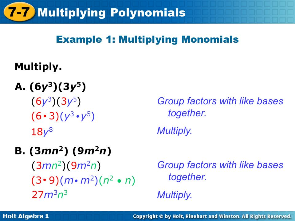 Example 1: Multiplying Monomials