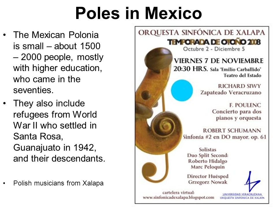 Poles in Mexico The Mexican Polonia is small – about 1500 – 2000 people, mostly with higher education, who came in the seventies.
