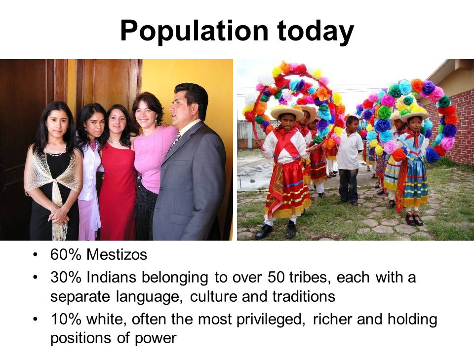 Population today 60% Mestizos