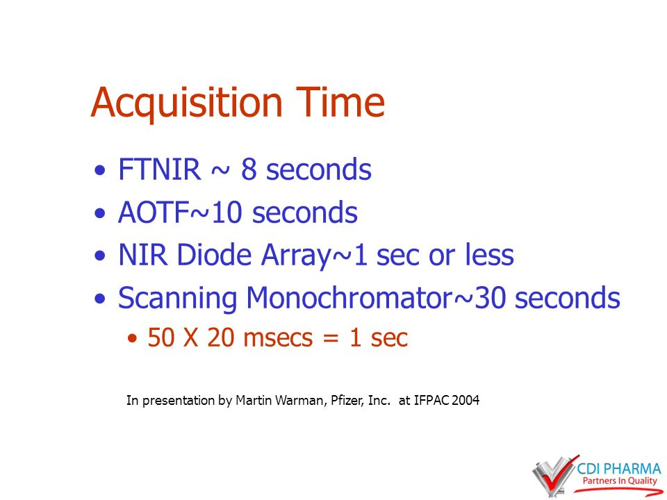 Acquisition Time FTNIR ~ 8 seconds AOTF~10 seconds