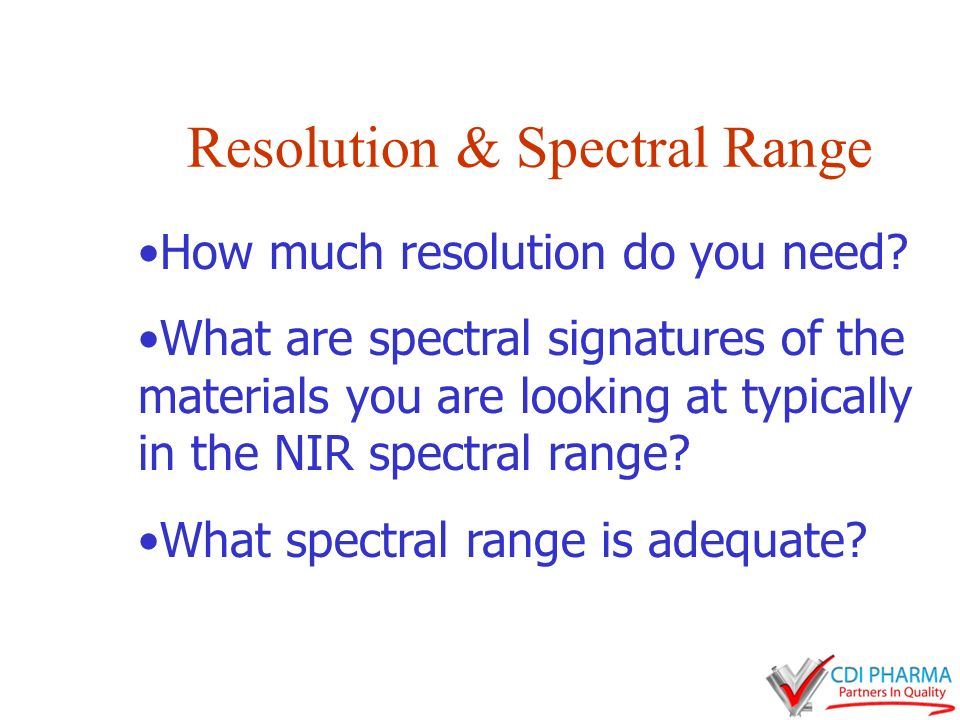 Resolution & Spectral Range