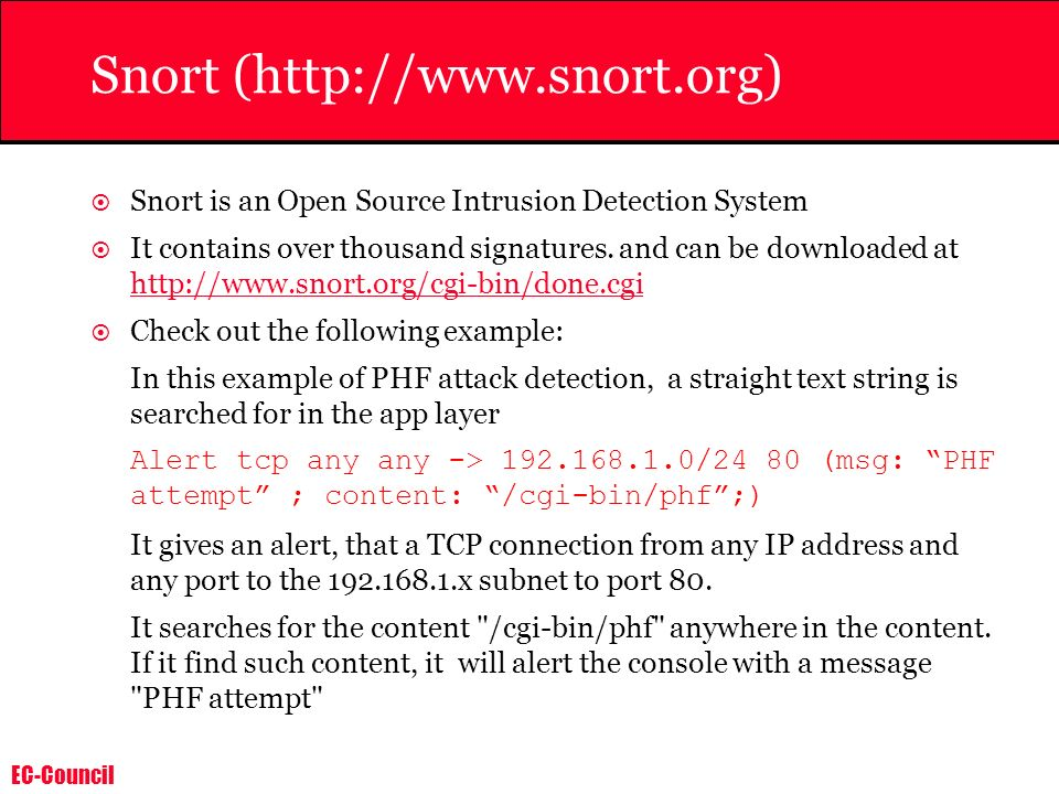 Snort (http://www.snort.org)