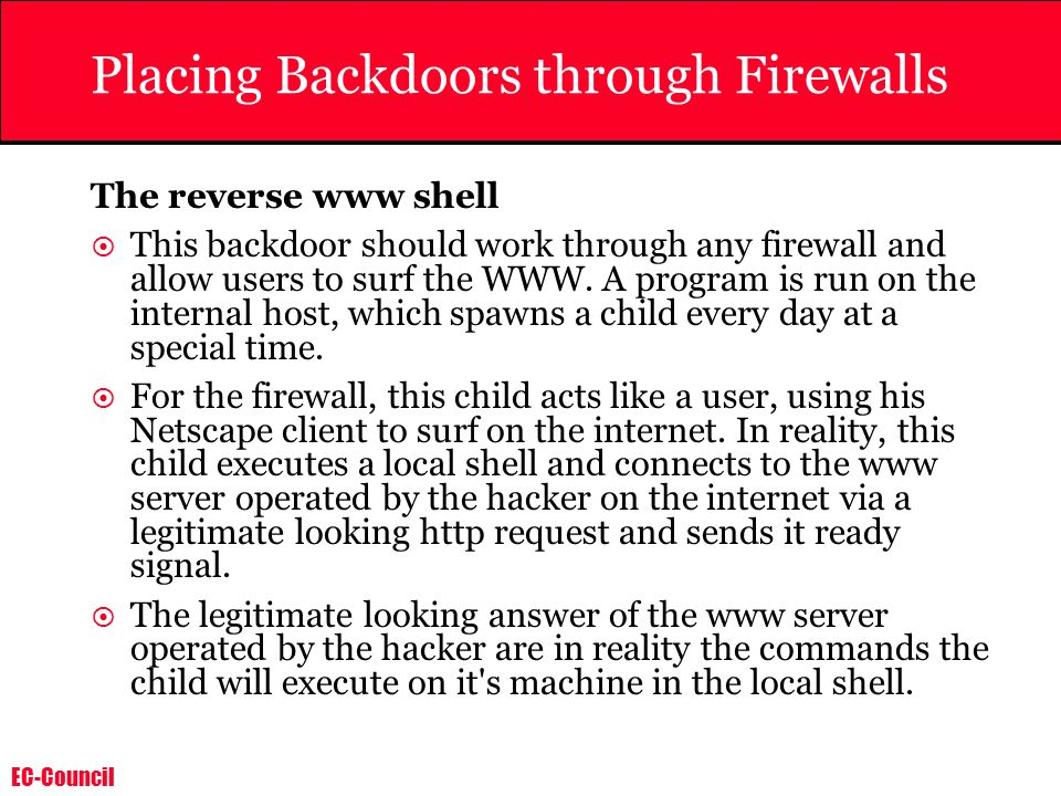 Placing Backdoors through Firewalls