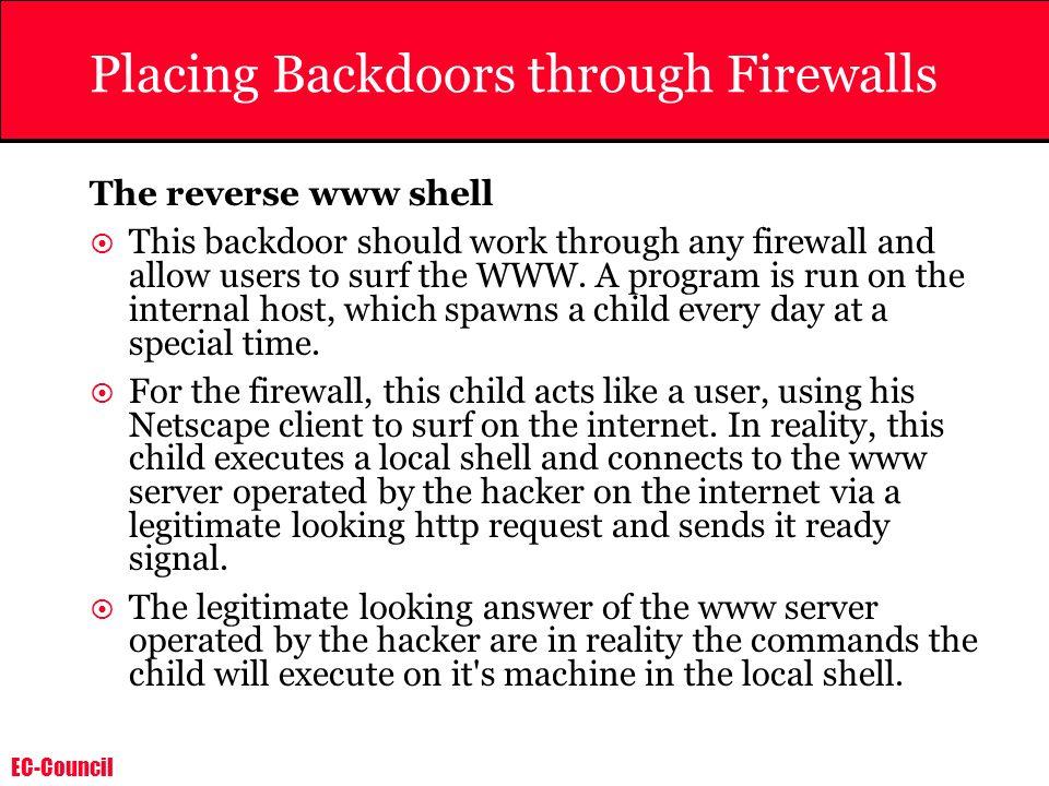 Placing Backdoors through Firewalls