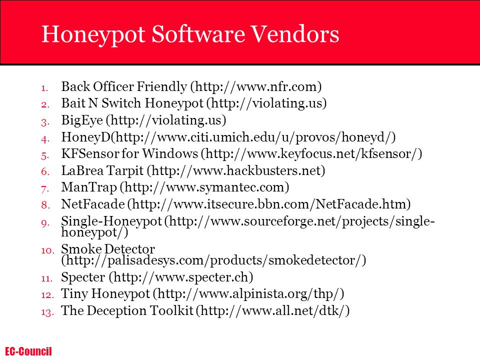 Honeypot Software Vendors