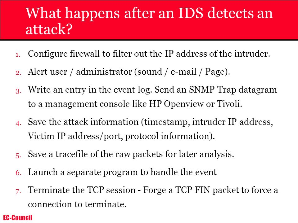 What happens after an IDS detects an attack