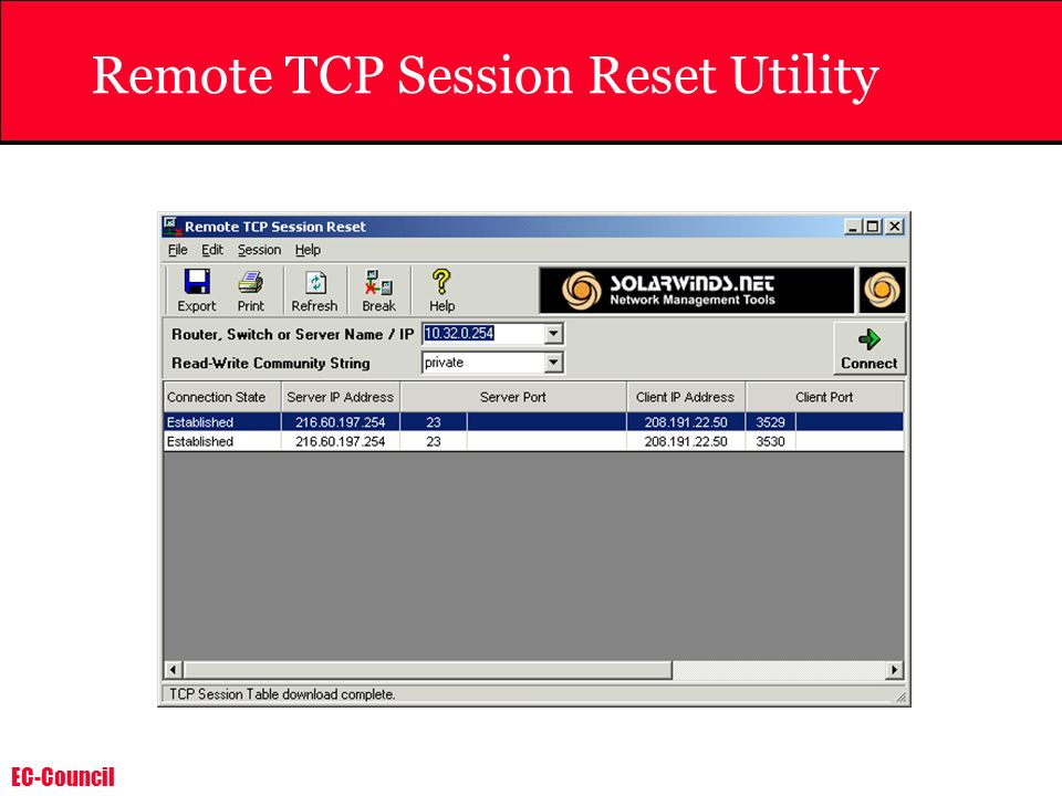 Remote TCP Session Reset Utility