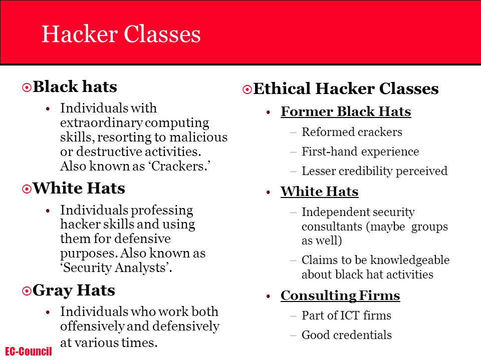 Hacker Classes Black hats White Hats Gray Hats Ethical Hacker Classes