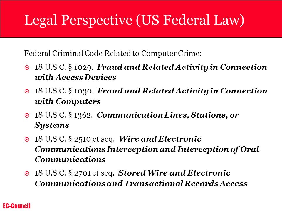 Legal Perspective (US Federal Law)