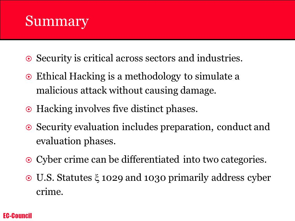 Summary Security is critical across sectors and industries.