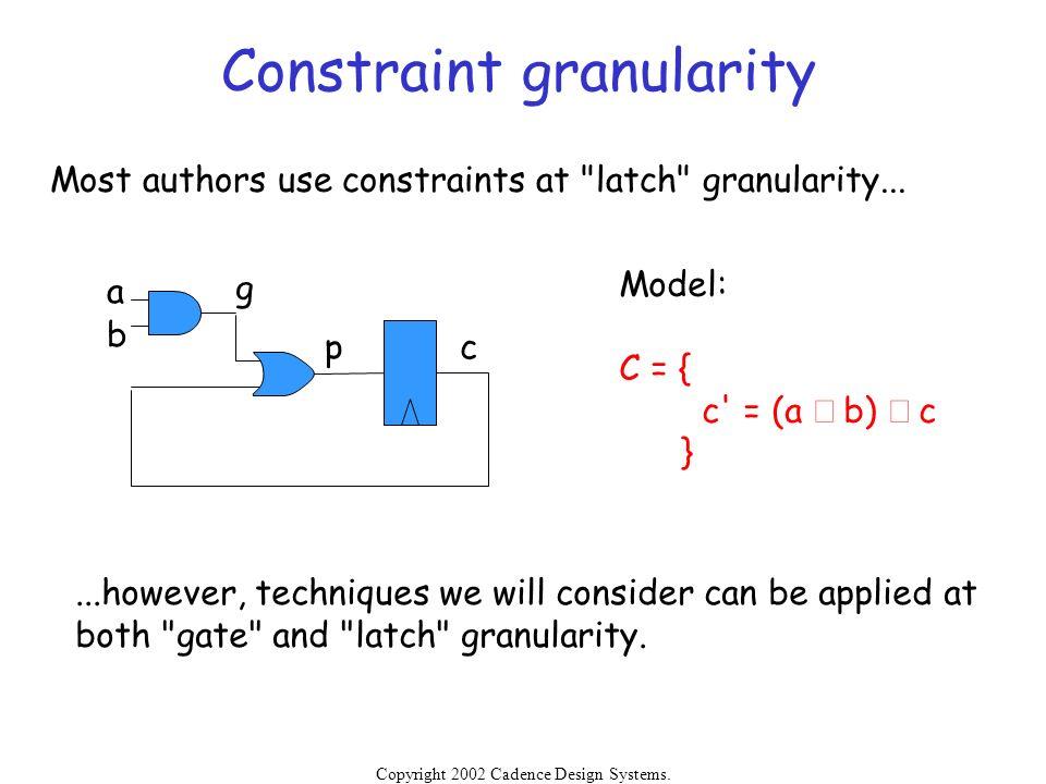 Constraint granularity
