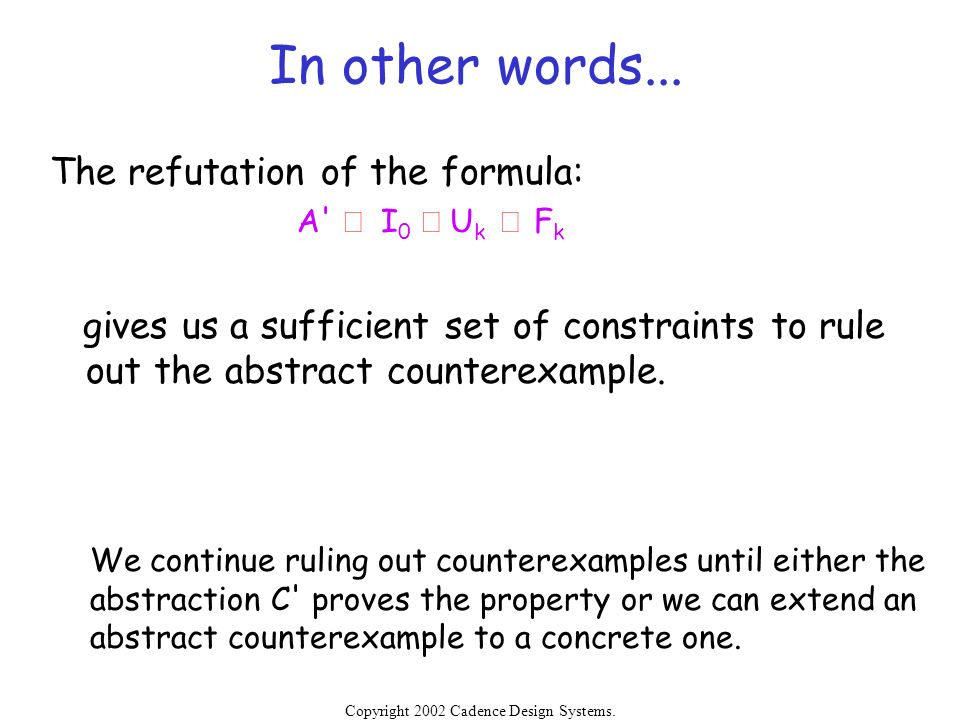In other words... The refutation of the formula: