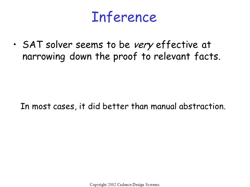 Inference SAT solver seems to be very effective at narrowing down the proof to relevant facts. In most cases, it did better than manual abstraction.