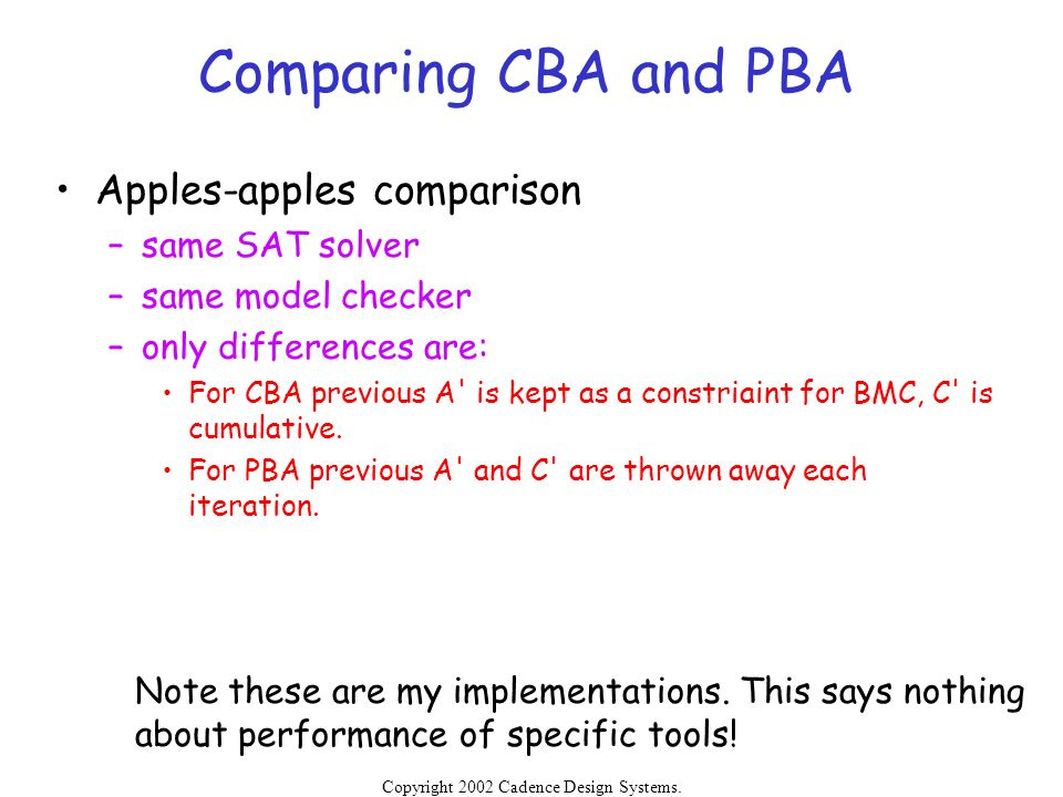Comparing CBA and PBA Apples-apples comparison same SAT solver