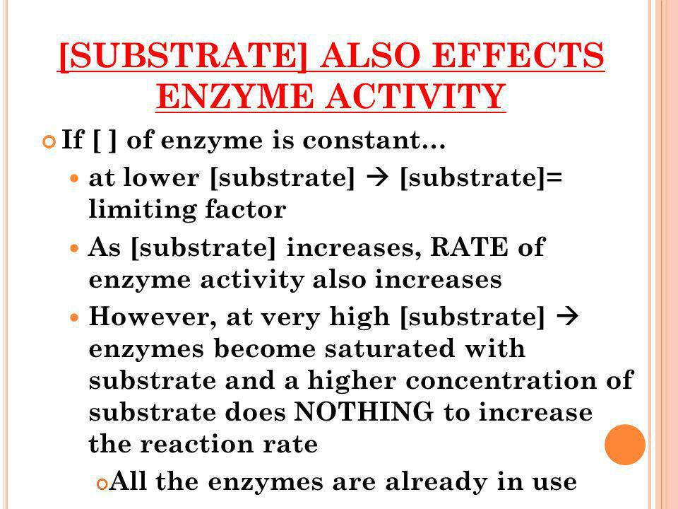 [SUBSTRATE] ALSO EFFECTS ENZYME ACTIVITY