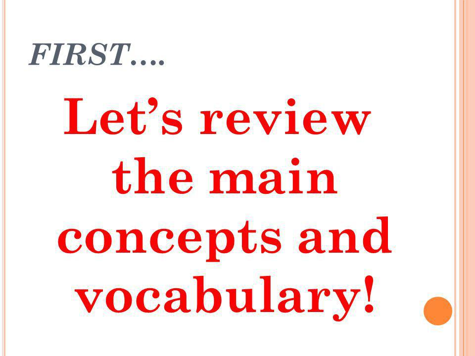 Let's review the main concepts and vocabulary!