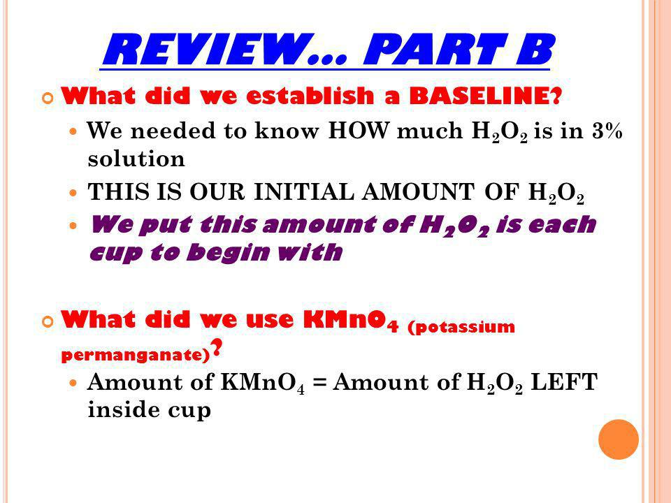 REVIEW… PART B What did we establish a BASELINE