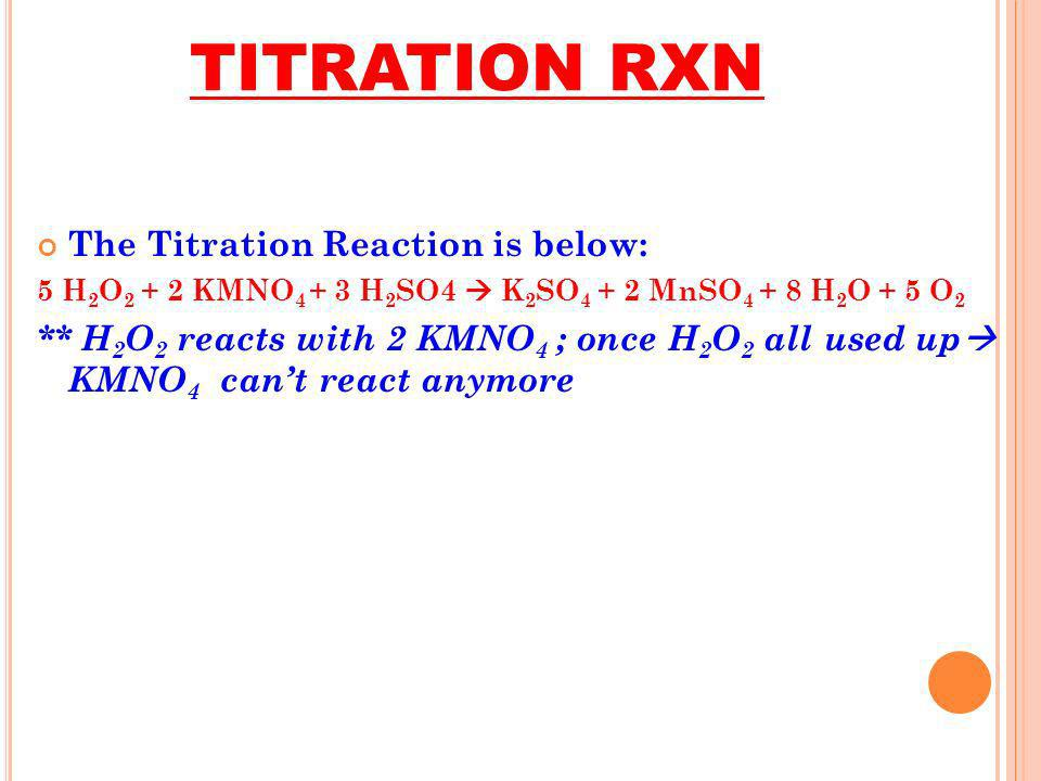 TITRATION RXN The Titration Reaction is below: