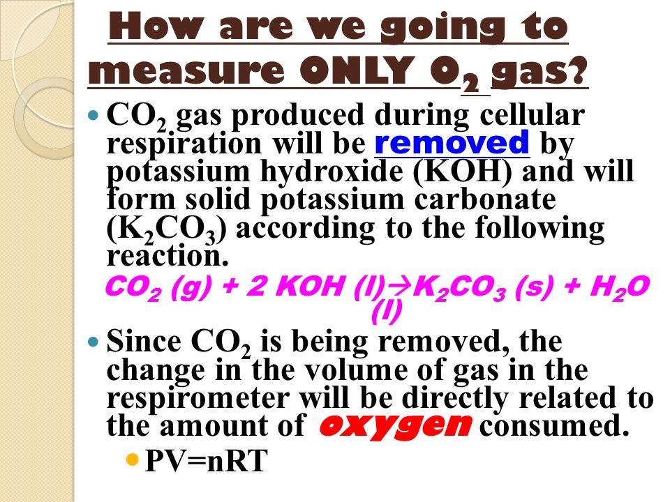 CO2 (g) + 2 KOH (l)K2CO3 (s) + H2O (l)
