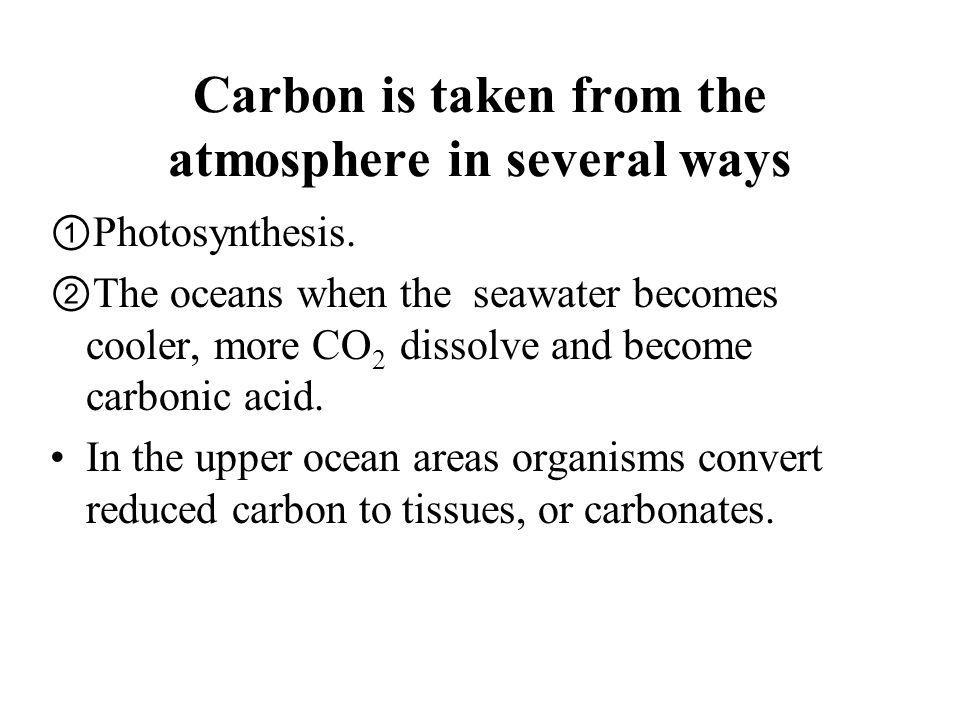Carbon is taken from the atmosphere in several ways