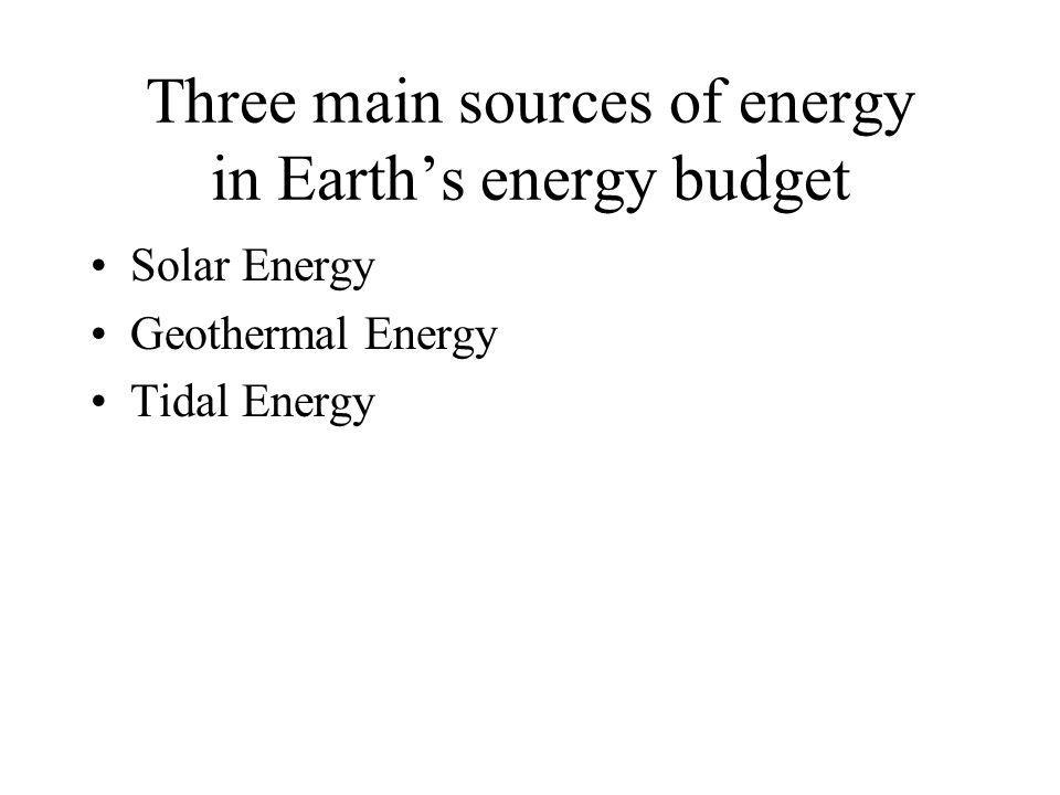 Three main sources of energy in Earth's energy budget