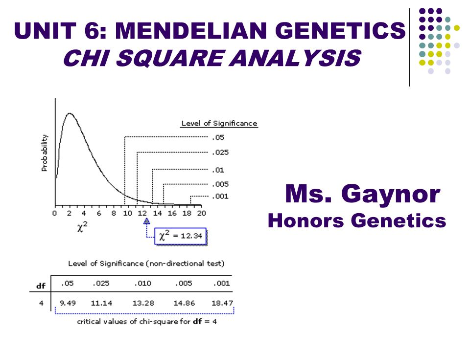UNIT 6: MENDELIAN GENETICS CHI SQUARE ANALYSIS