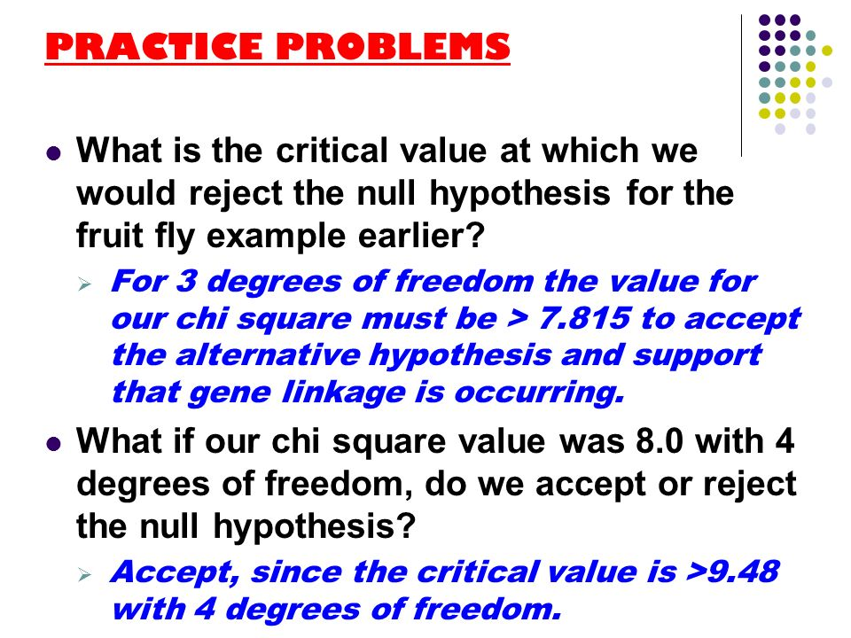 PRACTICE PROBLEMS What is the critical value at which we would reject the null hypothesis for the fruit fly example earlier
