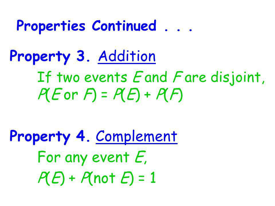 If two events E and F are disjoint, P(E or F) = P(E) + P(F)