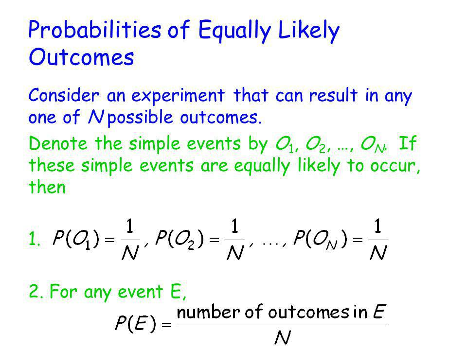 Probabilities of Equally Likely Outcomes