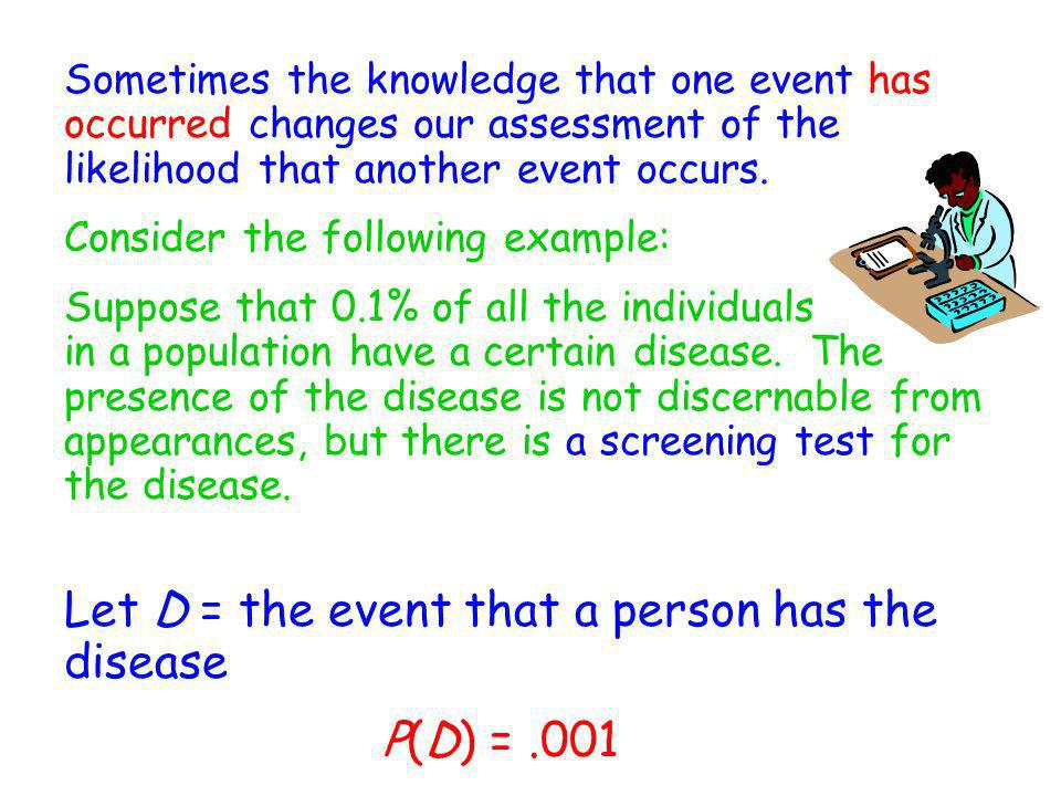Let D = the event that a person has the disease P(D) = .001