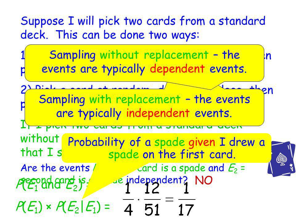 Probability of a spade given I drew a spade on the first card.