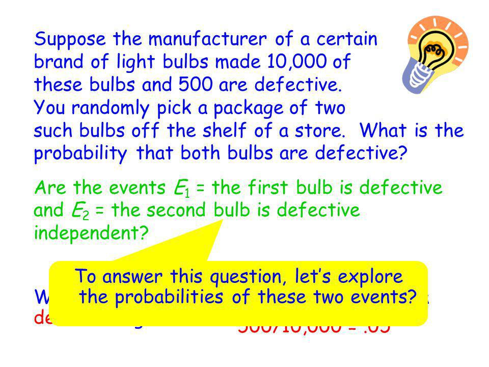 Suppose the manufacturer of a certain brand of light bulbs made 10,000 of these bulbs and 500 are defective. You randomly pick a package of two such bulbs off the shelf of a store. What is the probability that both bulbs are defective