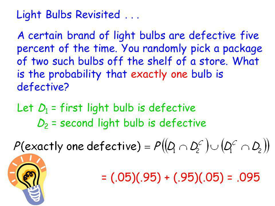 = (.05)(.95) + (.95)(.05) = .095 Light Bulbs Revisited . . .