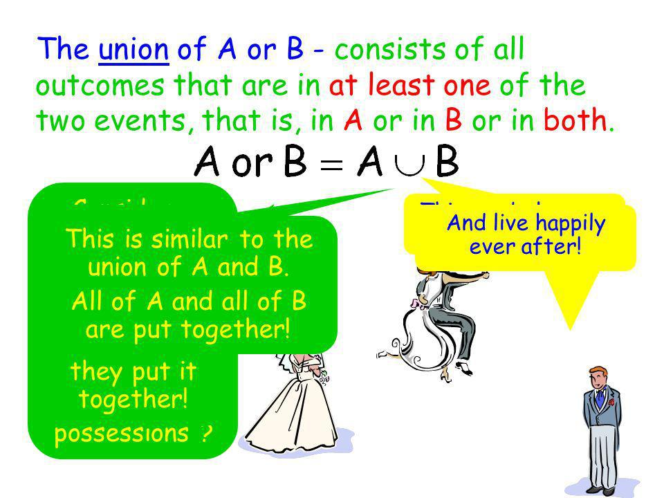 The union of A or B - consists of all outcomes that are in at least one of the two events, that is, in A or in B or in both.