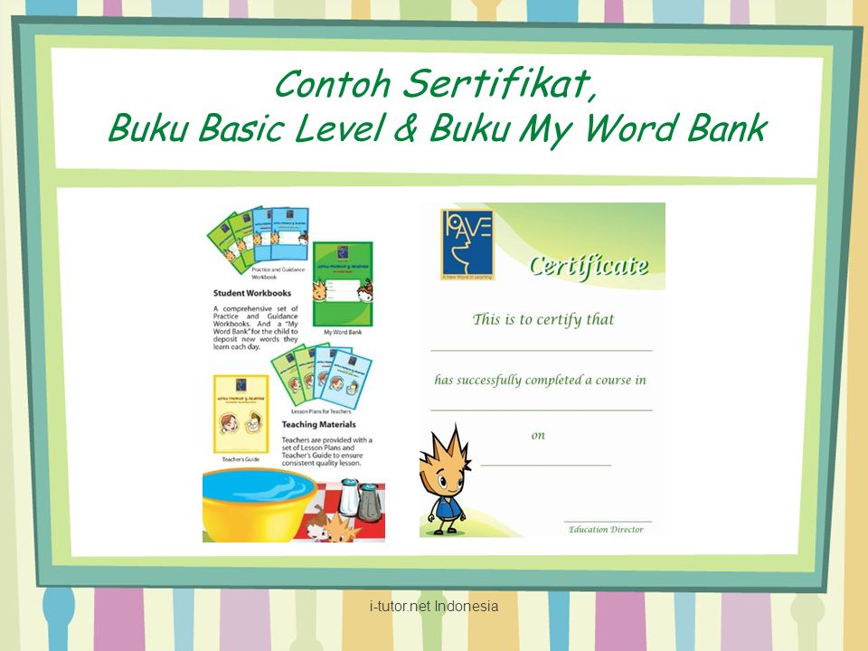 Contoh Sertifikat, Buku Basic Level & Buku My Word Bank