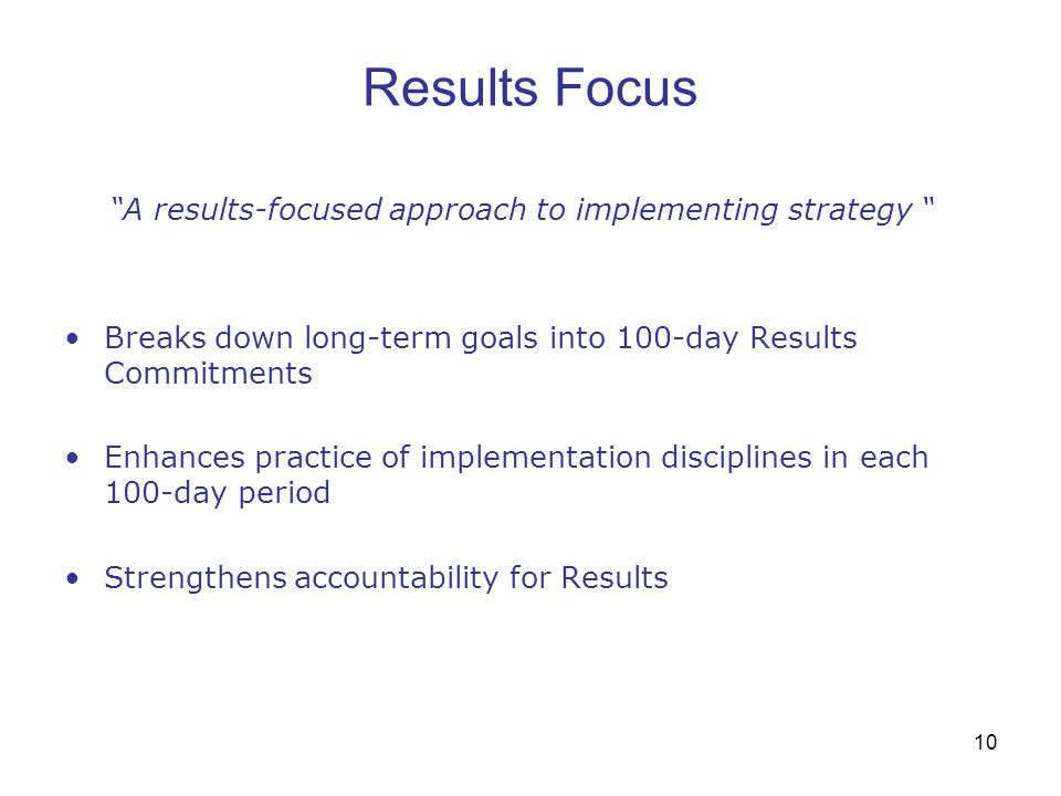 A results-focused approach to implementing strategy