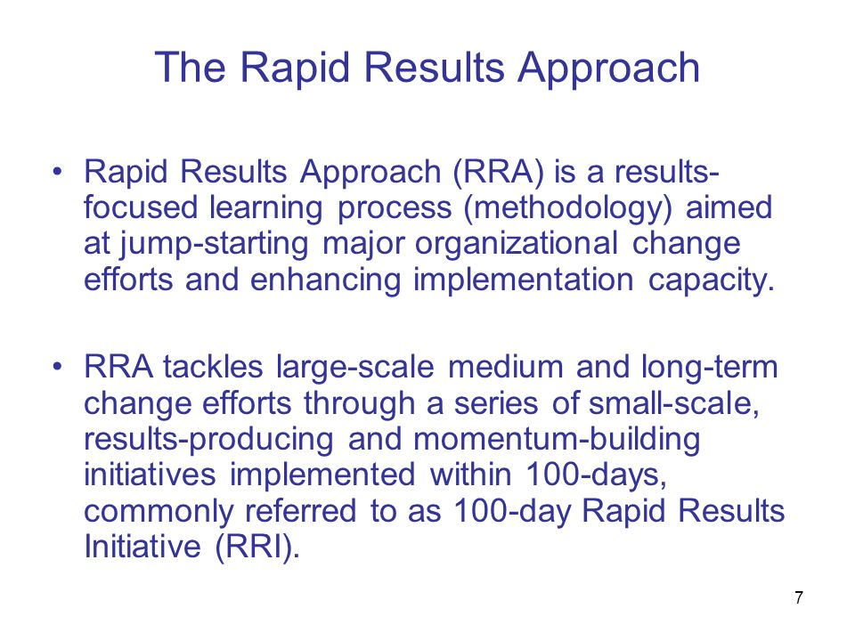 The Rapid Results Approach