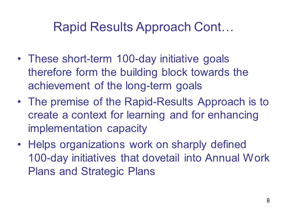 Rapid Results Approach Cont…