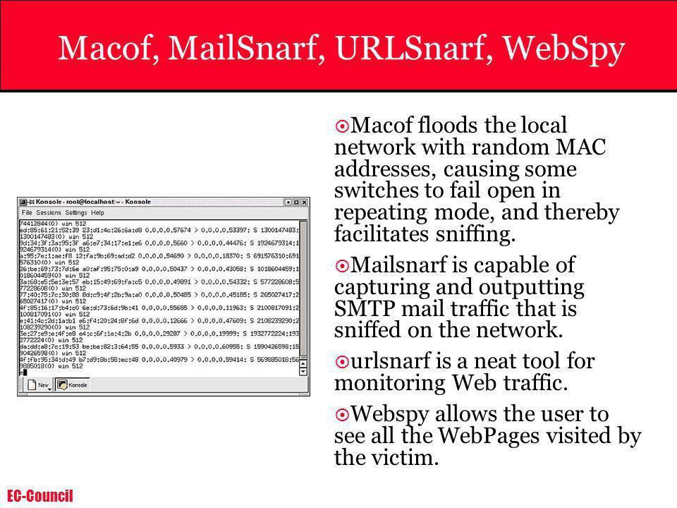 Macof, MailSnarf, URLSnarf, WebSpy