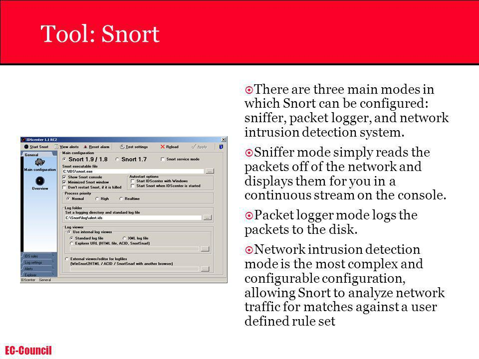 Tool: SnortThere are three main modes in which Snort can be configured: sniffer, packet logger, and network intrusion detection system.