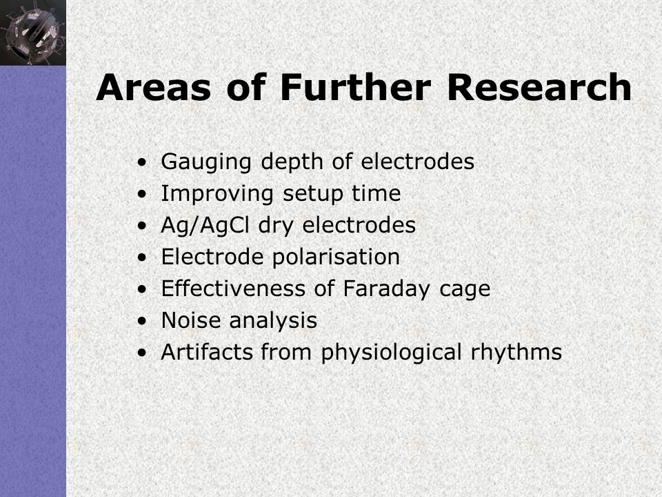 Areas of Further Research