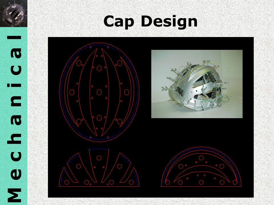 M e c h a n i c a l Cap Design. The skull cap design is a rigid cap that had ventilation sections cut out to improve comfort for the subject.
